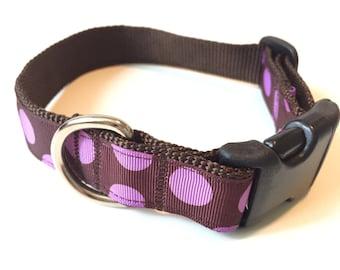 Dog Collar - Adjustable Dog Collar - Purple Polka Dots Female Dog Collar - Small Medium Dog Harness - Pet Lovers Gift