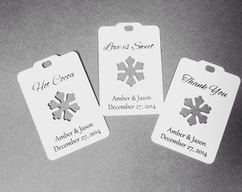 Wedding favour tags. Winter wedding favor tags  Christmas, Xmas, snowflake wedding favor tags. Personalized and customized.