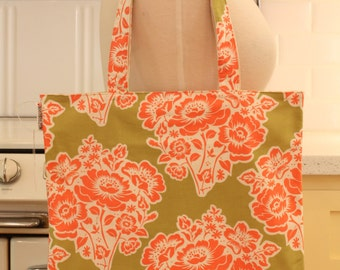 Book Bag Tote Purse - Pink Flowers on Sage