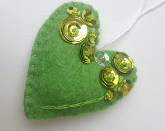 felt heart ornament for her - Valentine's day - green heart decoration for Christmas - Baby shower idea - It's a Girl - decor