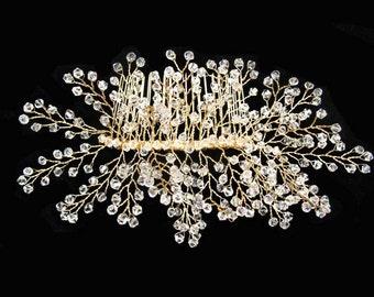 Bridal Headpiece, Gold Leaf Bridal Hair Comb, Wedding Hair Pins, Leaves, Wedding Hair Accessories , Bridal Hairpiece, Bibijoux Sprig Pins