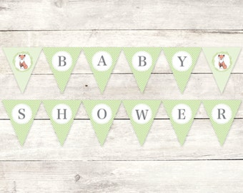 baby shower banner printable DIY bunting banner fox green grey gender neutral polka dots hanging banner digital triangle - INSTANT DOWNLOAD