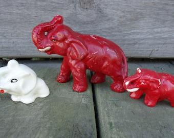 Red Elephant Figurines (set of 3)