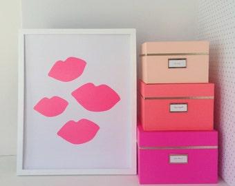 Bombshell Kisses Pantone 812 Neon Pink Lip Print Poster 16x20 Home Decor Wall Art Valentines Day