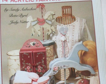 "1988 Decorative Folk Art Tole painting "" Seminar Favorites"" by  Bette Byrd , Sandy Aubuchon, & Judy Nutter used book 32 pages"