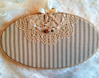 """Country Kitchen Decor, Shabby Cottage Chic, Farmhouse Kitchen, Country FrenchDecor, Lace At Midnight, 5""""x9"""" oval hoop, Shabby Wall Art Hoop"""
