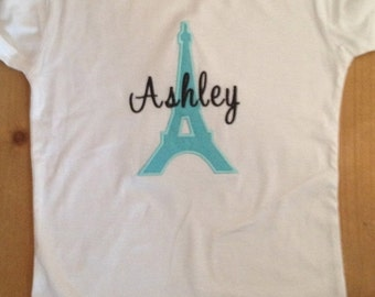 Aqua Blue and Black Paris Eiffel Tower Embroidered Shirt or Baby Bodysuit