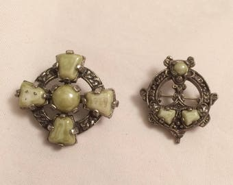Vintage pair of Celtic brooches. Green gemstone and pewter. Gift idea for her. Retro jewellery