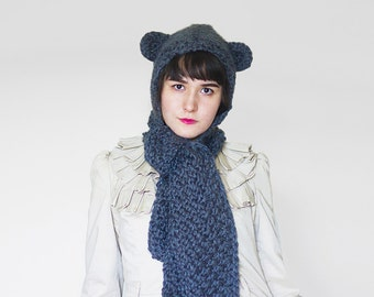 Knit Hooded Scarf with Animal Ears - Knitted Scoodie - Winter Hoodie in Charcoal- Hand Knit Scarf with Hood and Ears   The Pluto Scarf  