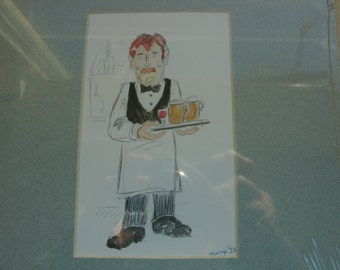 Original sketch with water colour .   Waiter.   5 1/2  3 1/2