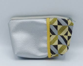 Yellow and silvery graphic pouch in jacquard and faux-leather