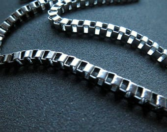 mens box chain necklace. stainless steel jewelry. made in Canada.