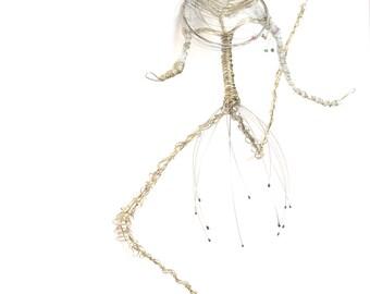 Ballet dancer Polymer Clay, wire, metal mesh sculpture OOAK / Abstract / Modern Art