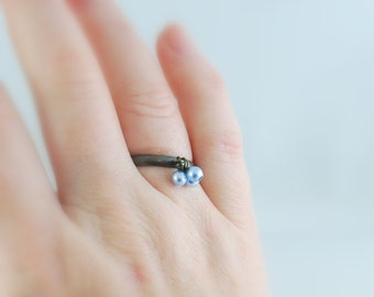 Pearl Ring Genuine Swarovski Beads Antiqued Brass Light Blue Adjustable Size Wire Wrapped Simple Bronze Jewelry