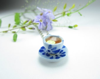 Blue Teacup Necklace - Food jewelry, teacup and saucer, teacup jewelry, gift for her, womens gift, lemon, unique gift, food gift, teacup