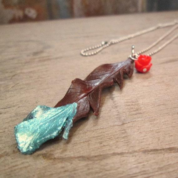 Leather Necklace, Feather Necklace, Leather Feather Necklace, Turquoise Necklace, Necklace