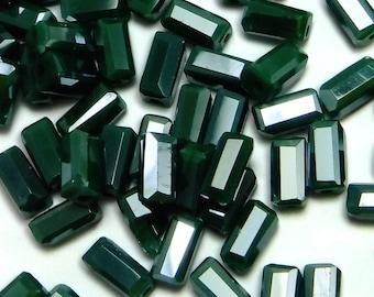 100 pcs Green Glass Tube Beads 7x3 mm Czech Tube Beads B-176