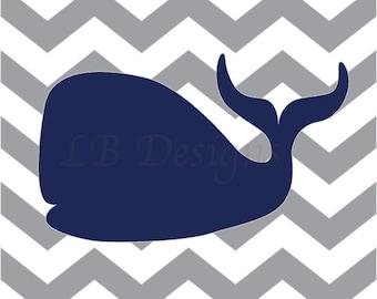 Whale Nursery Art, Nautical Nursery Decor, Navy Blue and Gray Nursery, Boy Nautical Bedroom, Playroom Decor, Nautical Kids Decor - 8x10