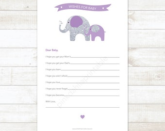 purple silver wishes for baby baby girl shower printable game DIY elephants purple silver baby girl digital shower games - INSTANT DOWNLOAD