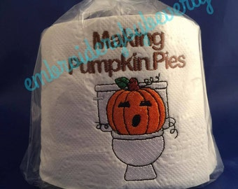 Holiday gag gift, Holiday decor, prank gift, funny, adult humor, Pumpkin making pumpkin pies on toilet, white elephant gift. Unusual gift.