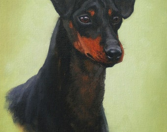 Manchester Terrier dog art fine art LE print dog gift dog lover gift from an original oil available unmounted or mounted ready to frame