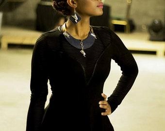 Egyptian Queen Nefertiti denim, necklace. Lightweight