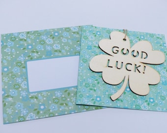 good luck card good luck with wooden 4 leaf clover and matching envelope