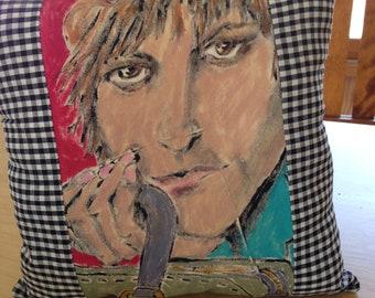 Art Accent Pillow Original Painting Woman's Portrait by Lois Simbach