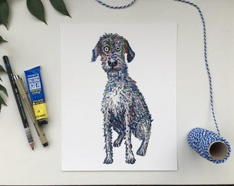 Irish Wolfhound illustration, Irish Wolfhound drawing, Irish Wolfhound painting, Wolfhound present, Wolfhound gift, Wolfhound painting,
