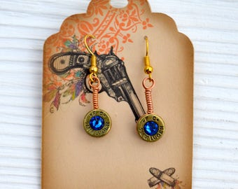 Blue Crystal Bullet Earrings, Dangle bullet earrings,  bullet earrings, Crystal bullet earrings, Bullet jewelry, Ammo jewelry