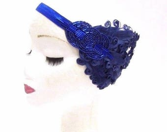 Royal Navy Blue Feather Headband 1920s Flapper Vintage Headpiece Hair Band 2772