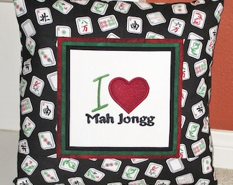 I Love Mah Jongg Embroidered Decorative Pillow Cover 16 inch