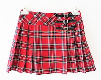 Red Plaid Mini Skirt Red Tartan Skirt Red Pleated Skirt Plaid Pleated Skirt Checkered Skirt Low Waist Skirt Back to School Size Small