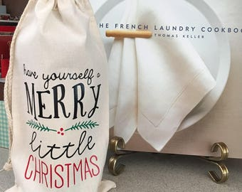 Have yourself a merry little christmas, wine bag, christmas wine bag, christmas wine, christmas gift, holiday gift, holiday, merry christmas