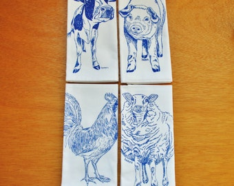 Cotton Dinner Napkins - Blue Farm Animals Screen Printed Napkins - Washable and Reusable - Cute Wedding Shower Gift