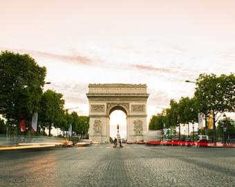 Paris Photography - Arc de Triomphe Print - Pink Paris Bedroom Decor - Travel Photography Print - Paris Gallery Wall Art