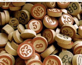 ONSALE 50 Antique Vintage Wooden Game Markers and Lotto and Bingo Numbers