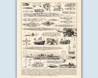 Submarine Print, Submarine Decor, Coastal Wall Art, Coastal Decor, Navigation Print, Nautical Decor, Nautical Art, Sailing Gift, Sailor Gift