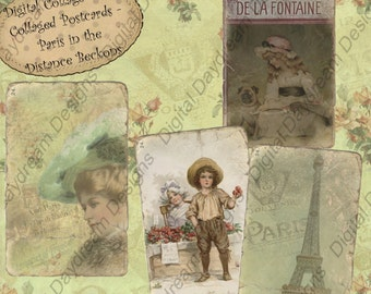 Instant Download Digital Printable Collage Sheet - Paris in the Distance Beckons Misc. Size