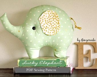 Lucky Elephant PDF Sewing Pattern Plush Pillow DIY