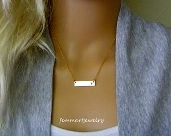 Rectangle Gold Bar Necklace - Nameplate Initial Necklace -14k Gold Filled - Sterling Silver - Layering Necklace - Bridesmaids Gift