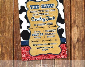 Cowboy Birthday Invitation - Western Invite