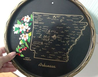 vintage Arkansas souvenir tray with apple blossoms