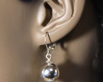 dangle drop earrings 14 mm sterling silver bead ball
