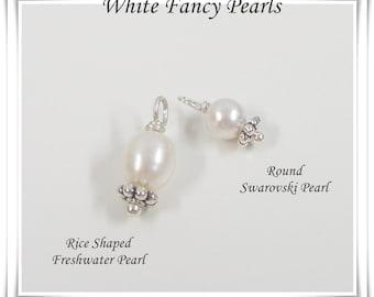 Add a Pearl - White Freshwater Pearl or Swarovski Crystal Pearl - Add On Pearl Drops