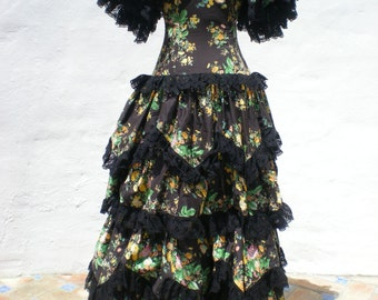 "Vintage Spanish Flamenco Dress 34"" Bust - Frida Khalo Style - Fabulous Black Lacey Floral Dress"