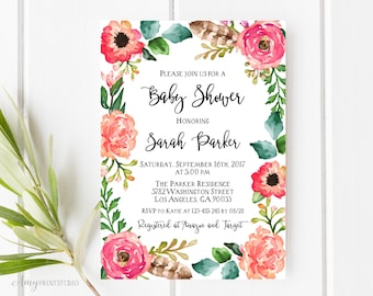 Baby Shower Invitation, Floral Baby Shower Invite, Rustic Baby Shower Invite, PERSONALIZED, Digital file, #A14
