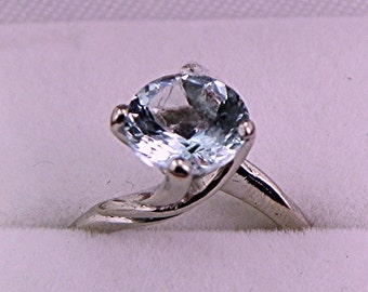 AAA Aquamarine Round Natural   8mm  1.50 Carats   set in 14K white gold ring MMM