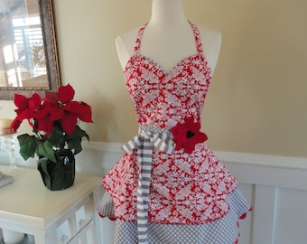 Red Damask ~ READY TO SHIP  Sadie Style Women's Apron ~ 4RetroSisters