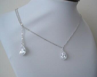 15% off - Backdrop Wedding Necklace on Teardrop Crystal Wedding Bridal Necklace, Cubic Zirconia, Simple Bridal Wedding Necklace